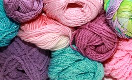 Many skeins for crochet Royalty Free Stock Image