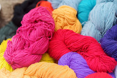 Many skeins of wool felting Stock Photo