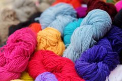 Many skeins of wool felting Stock Photography