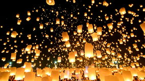 Many Sky Lanterns Floating In Loi Krathong Festival Of Chiang Mai Thailand 2014 stock video footage
