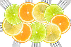Citrus fruit sliced on forks Royalty Free Stock Image