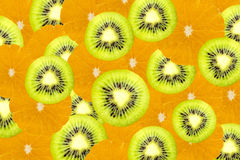 Many slices of kiwi fruit and orange fruit, Fresh kiwis and oran Stock Photography