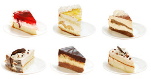 Many slices of pies. Many the cut out slices of pies with a cream Royalty Free Stock Photo