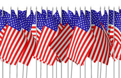 Many small american flags in row isolated seamless Stock Photo