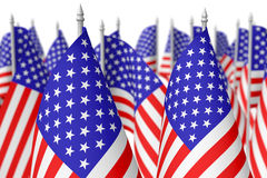 Many small american flags, selective focus Royalty Free Stock Photography
