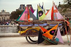 Many small colorful ships ready to navigate. In a parisian park Stock Photography