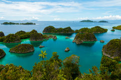 Many small green Islands belonging to Fam Island. Many small green Islands of Fam Island in the sea of Raja Ampat, Papua New Guinea, Indonesia Stock Photos