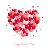 Many small hearts concept. Heart shaped cloud with many small hearts. Vector illustration. Happy Valentine`s Day greeting card. Love concept symbol Royalty Free Stock Photography