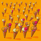 Many small ice cream cones Royalty Free Stock Photo