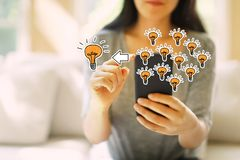 Many small ideas into one big idea with woman using a smartphone. Many small ideas into one big idea with woman using her smartphone in a living room royalty free stock photo