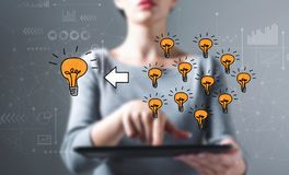 Many small ideas into one big idea with woman using a tablet. Many small ideas into one big idea with business woman using a tablet computer royalty free stock photos