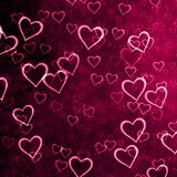 Purple background with a lot of hearts. The many small and large red, pink hearts, Sainte Valentine`s Day, background, love royalty free illustration