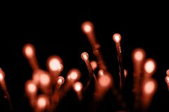 Many small led light bulbs on black background. Blur light bokeh