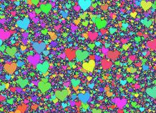 Many small multicolored hearts backgrounds Royalty Free Stock Photo