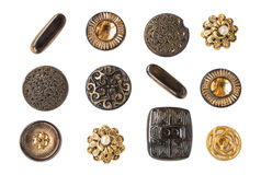 Many small original buttons. Many original buttons isolated on white background Stock Photos