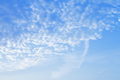 Many small puffy white clouds in blue sunrise sky Stock Photo