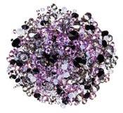 Many small purple diamonds heap isolated on white stock photography