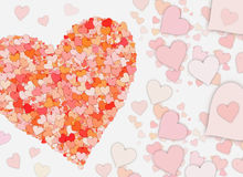 Many small red hearts on white backgrounds Stock Image
