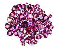 Many small ruby diamonds heap isolated on white Stock Images