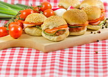 Many small sandwiches close-up Royalty Free Stock Photo