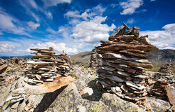 Small stone piles on mountain close up Royalty Free Stock Photo
