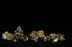 Many small stones with pyrite Royalty Free Stock Photography