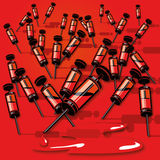 Many small syringes with blood. Many small syringes with reed blood Royalty Free Stock Photos