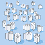 Many small toilet paper rolls and paper Stock Image