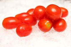 Many small tomato on white background. Stock Photo