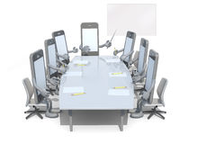 Many smartphone meeting around the table and follow their boss. 3d illustration Stock Photo