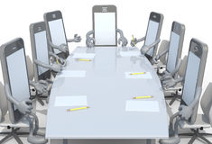 Many smartphone meeting around the table and follow their boss. 3d illustration Royalty Free Stock Photo