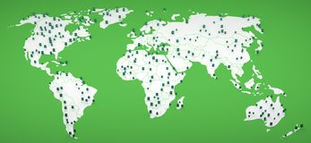 Many smartphone on world map 3d rendering Royalty Free Stock Photo