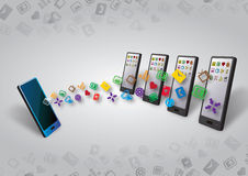 Many smartphones Data and Content Transfer Stock Photo