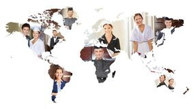 Many smiling service people on world map. Many smiling international service people on a world map of the earth royalty free stock photography