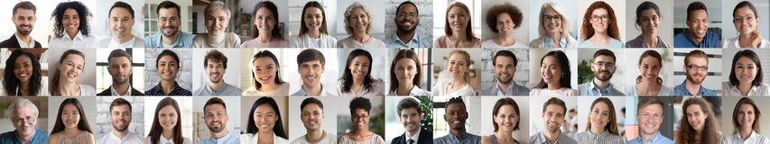 Free Many Smiling Multiethnic People Faces Headshots Collage Mosaic, Banner Design Royalty Free Stock Photos - 183199408