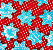 Many snowflake shaped cookies. Stock Photography