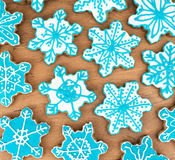 Many snowflake shaped cookies. Stock Image