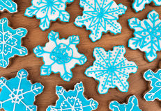 Many snowflake shaped cookies. Royalty Free Stock Image
