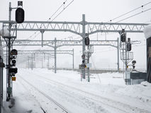 Many snowy railroad tracks Stock Photo
