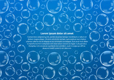 Many soap bubbles on blue with text, abstract background A4 size Royalty Free Stock Photo