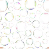 Many soap bubbles on white background seamless Royalty Free Stock Images
