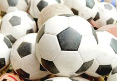 Many soccer balls Royalty Free Stock Photos