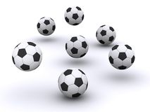 Many soccer balls. Many 3d rendered soccer balls Royalty Free Stock Photo