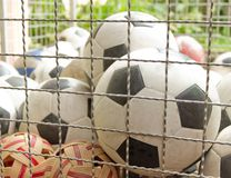 Many soccer balls Stock Images