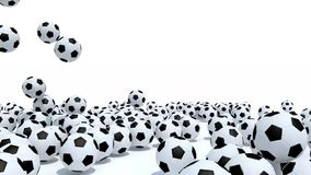 many soccer balls fall on white background stock footage