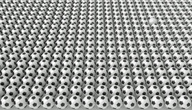 So many soccer balls, one white, 3d illustration Royalty Free Stock Images
