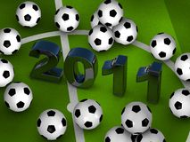 Many soccerballs with 2011 in center Stock Images