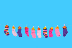 Many Socks Drying Royalty Free Stock Images