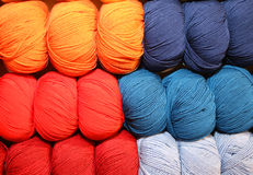 Many Soft Balls Of Colored Wool To Create Handmade Sweaters Stock Photos