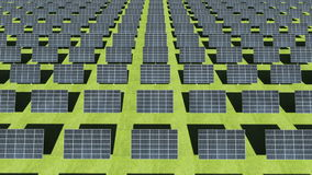Many Solar panels on green background. eco energy.presentation(included alpha) stock footage